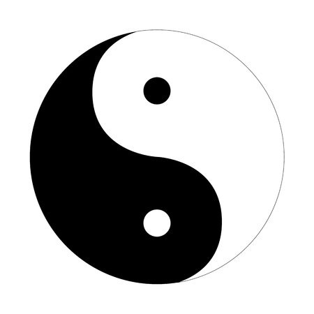 Yin Yang symbool plat op een witte achtergrond