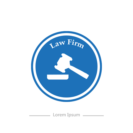 firm: Logo on a blue background Law Firm  stylish flat
