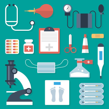 medical supplies: Medical supplies set in a flat  style