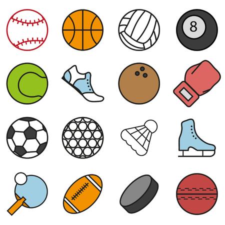 balonmano: Conjunto de accesorios para los juegos deportivos Vectores