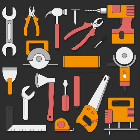 putty knife: Set of hand tools in flat style Illustration
