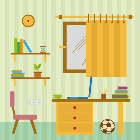 childrens book: House set, table,chairs,toys and  clock flat style