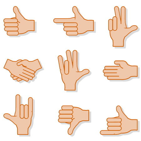 three points: Set of gestures hands with shadow on white background