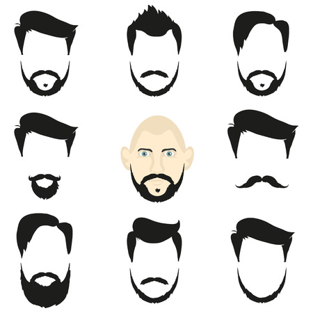 human face: Face and blank templates hairstyles and beards, hipster style Illustration