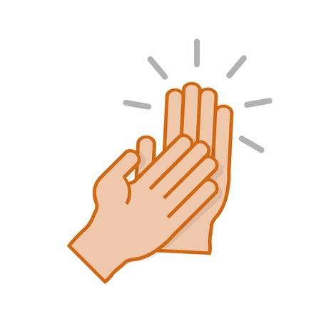 Handen klappen symbool illustratie op een witte achtergrond