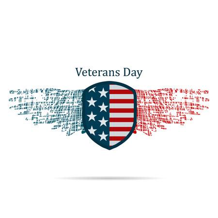national: Ilustración del día de veterano estadounidense sobre un fondo blanco Vectores