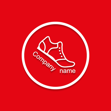 health and fitness: Logo sneakers with shadow bent flat  style
