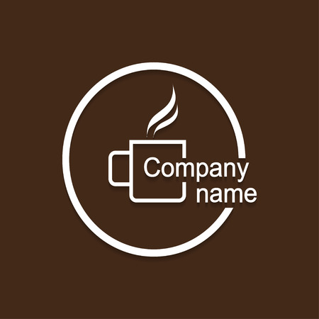 hot cup: Logo cup of hot drink  with shadow