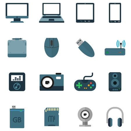 pc icon: Set Icons of various electronics devices on white background