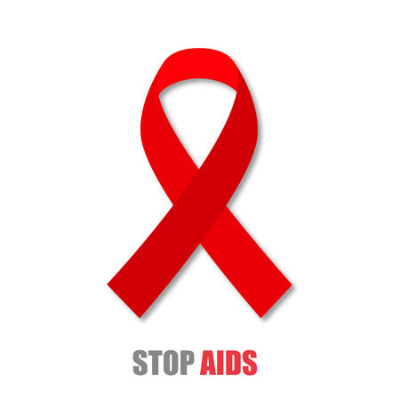 aids: Red ribbon with shadow Stop AIDS stylish  illustration Illustration