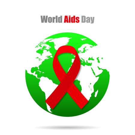 aids symbol: Earth with red ribbon World AIDS  Day