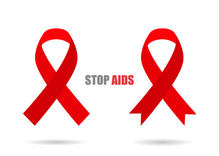 hiv awareness: Red ribbons with shadow different stylish illustration  of Stop AIDS