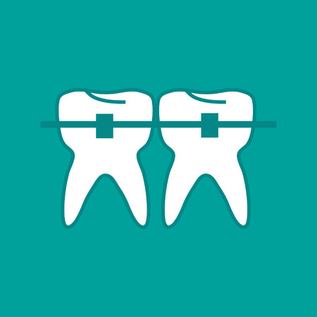 fillings: Two teeth treated flat plate  style stylish illustration