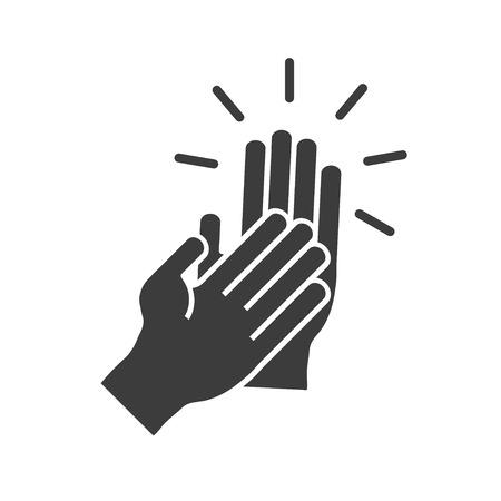 manos aplaudiendo: Batiendo las manos en un icono de estilo plano