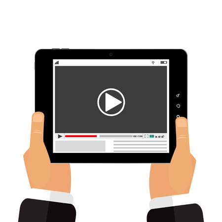 The tablet in the hands  of a video player Ilustração