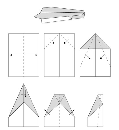 folded hand: The sequence of folded  hand paper airplane