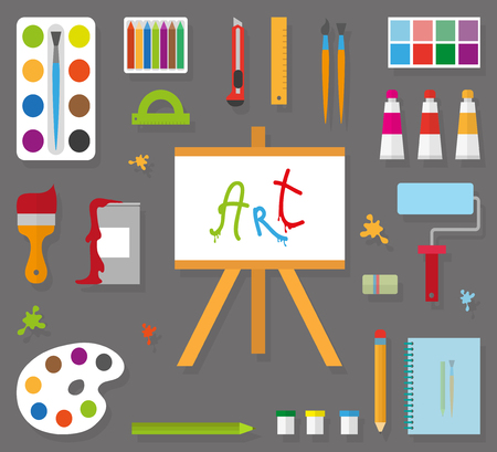 paint tool: Artist accessories in a flat style  on the gray background