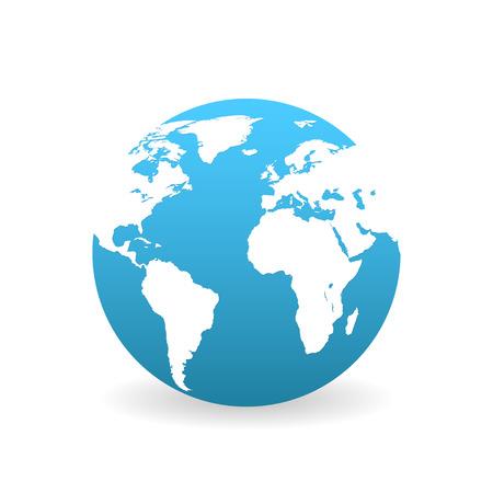 erde: Erde im flachen Stil mit Schatten auf weißem Hintergrund