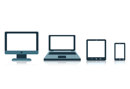 icono computadora: Concepto con dispositivos tablet pantalla del tel�fono port�til Vectores