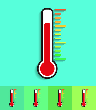 termometer: Icon thermometer on different backgrounds with  shadow