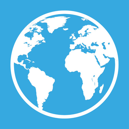 pictograph: Icon of the earth globe in a flat style on blue  background Illustration