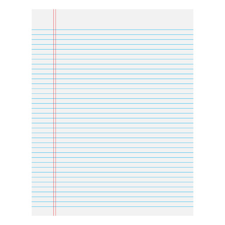college ruled: Notebook paper with lines on a white  background Illustration