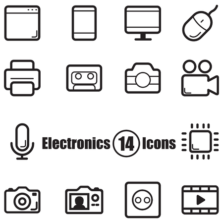 computer screens: Electronics set of 14 icons with lines in  a flat style