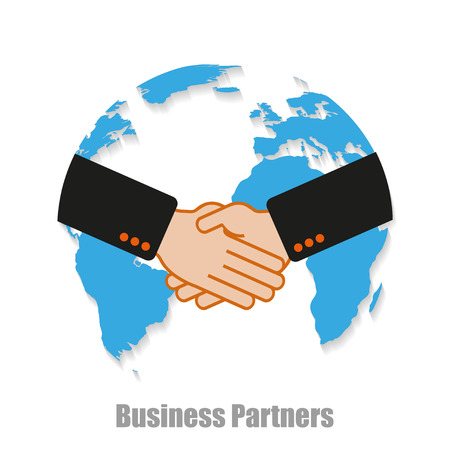 partner: Business partners world with shadow on a  white background Illustration