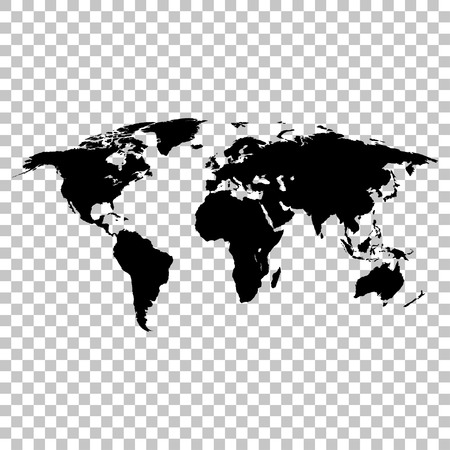 World map black colored silhouette  earth stylish