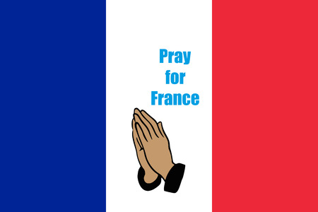 praying hands: Flag of France with praying  hands simply