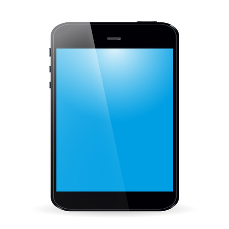 palmtop: Tablet with blue screen and shadow on white  background