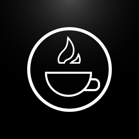 hot cup: Cup of hot drink logo on a  black background