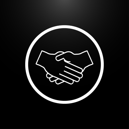 welcome business: Handshake Partners logo on a black  background Illustration
