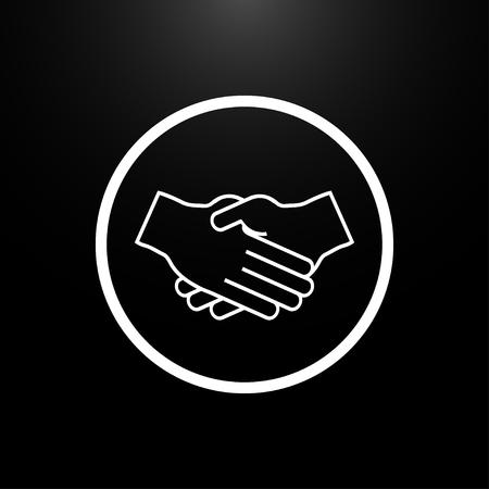 icons business: Handshake Partners logo on a black  background Illustration