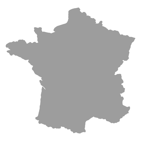 Map of France gray silhouette on a white  background Vettoriali