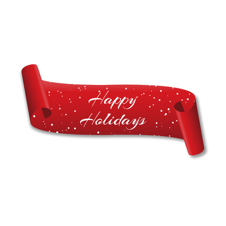 Curved red banner Happy holidays  with snow