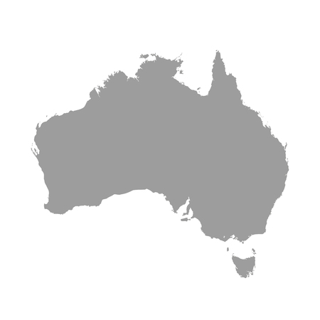 Australia map grey colored on  a white background