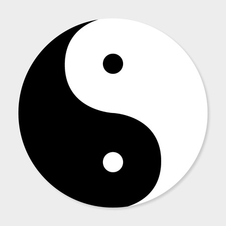 good and evil: Icon of good and evil yin  yang with shadow Illustration