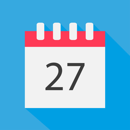 27: Icon calendar 27 days in  the flat style