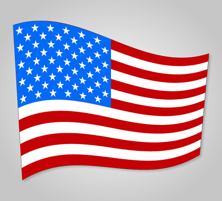 spangled: United States flag with shadow on a gray  background