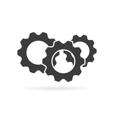 Gear logo grey color with shadow  on white background Vectores