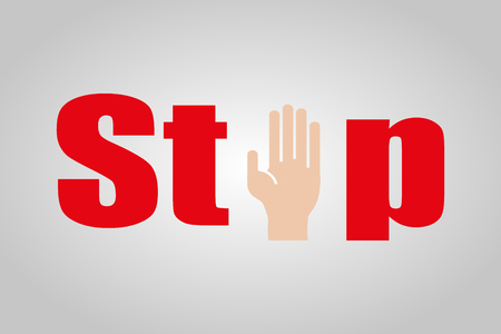 restrictive: Stop with hand sign on a grey  background Illustration