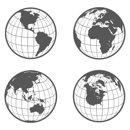 continent: Set of globes with different continents earth  flat style Illustration