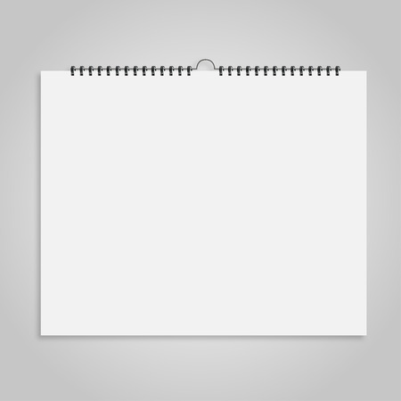 spiral binding: Calendar sheet of paper on  a gray background