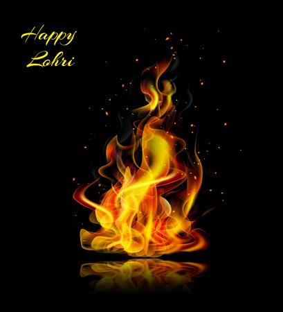 Happy Lohri fire realistic on a black background