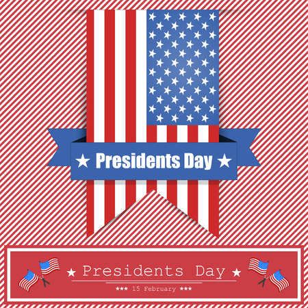 president's: Banner Presidents Day on the background with red  lines
