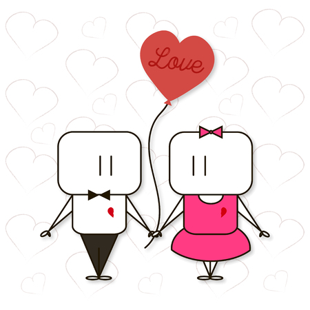 14: Illustration to the Valentines Day February 14 on white background