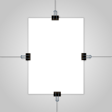 hang up: Sheet of paper hanging on the wall with  shadow vector illustration