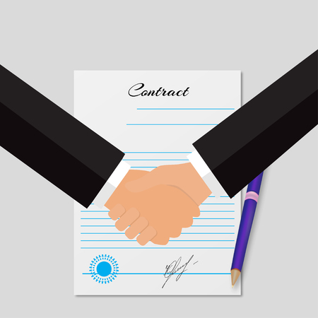 signing papers: Illustration contracting an with handshakes  grey background