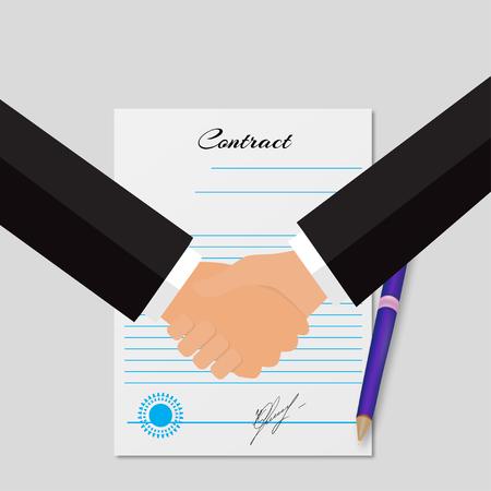 manos estrechadas: Ilustraci�n de una contrataci�n con un apret�n de manos fondo gris